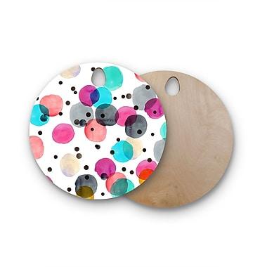 East Urban Home Crystal Walen Birchwood Festive Watercolor Dots Cutting Board; Round