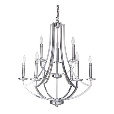 Darby Home Co Rockville 9-Light Candle-Style Chandelier; Chrome
