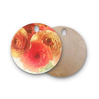 East Urban Home Debbra Obertanec Birchwood Ranunculus Floral Cutting Board; Round