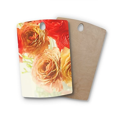 East Urban Home Debbra Obertanec Birchwood Springtime Ranunculus Floral Cutting Board; Rectangle