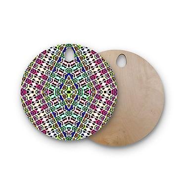 East Urban Home Dawid Roc Birchwood Tribal Pattern Cutting Board; Round