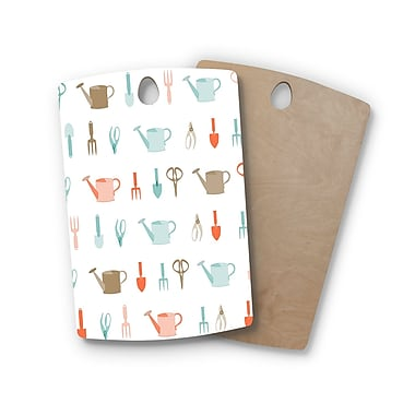 East Urban Home AFE Images Birchwood Gardening Tools Pattern Cutting Board; Rectangle