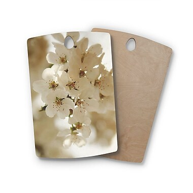 East Urban Home Angie Turner Birchwood Flowering Pear Petals Cutting Board; Rectangle