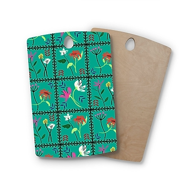 East Urban Home DLKG Design Birchwood Simple Garden Tiles Floral Cutting Board; Rectangle
