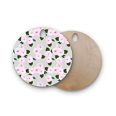 East Urban Home Cafelab Birchwood Camellia Pattern Mixed Media Cutting Board; Round