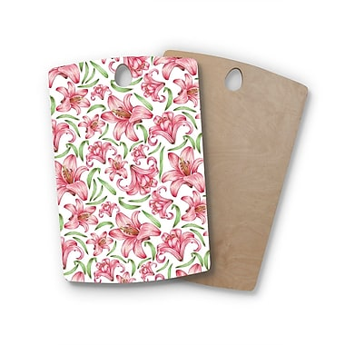 East Urban Home Alisa Drukman Birchwood Lily Flowers Nature Cutting Board; Rectangle