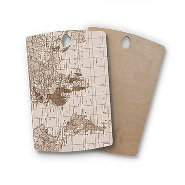 East Urban Home Catherine Holcombe Birchwood World Vintage Map Cutting Board; Rectangle