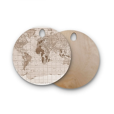 East Urban Home Catherine Holcombe Birchwood World Vintage Map Cutting Board; Round
