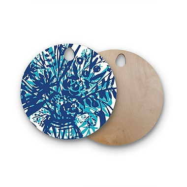 East Urban Home Patternmuse Birchwood Inky Floral Painting Cutting Board; Round