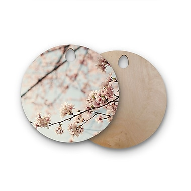 East Urban Home Catherine McDonald Birchwood Japanese Blossom Cutting Board; Round