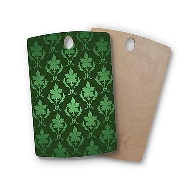 East Urban Home Birchwood Emerald Damask Pattern Cutting Board; Rectangle
