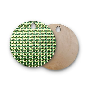 East Urban Home Holly Helgeson Birchwood Vintage Telephone Pattern Cutting Board; Round