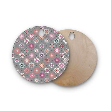 East Urban Home Jolene Heckmen Birchwood Mini Floral Cutting Board; Round