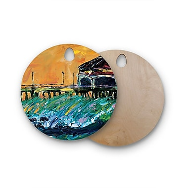 East Urban Home Josh Serafin Birchwood Offshore Beauty Multi Coastal Cutting Board; Round