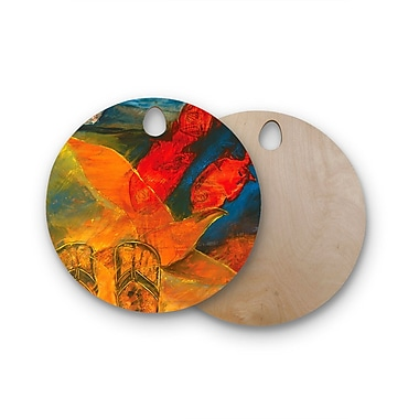 East Urban Home Josh Serafin Birchwood What's Beneath My Feet Fish Seagull Cutting Board; Round