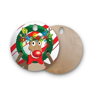 East Urban Home Birchwood Reindeer Seasonal Cutting Board; Round