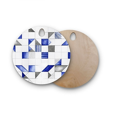 East Urban Home Kira Crees Birchwood Winter Geometry Cutting Board; Round