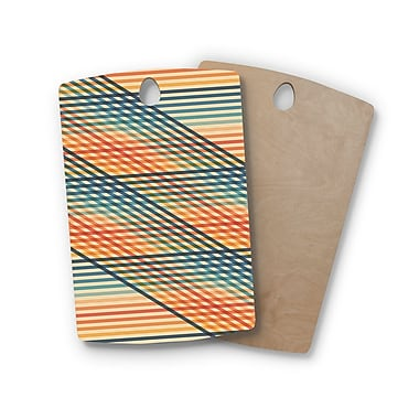 East Urban Home Fimbis Birchwood Ovrlap Too Lines Cutting Board; Rectangle