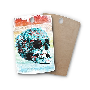 East Urban Home Frederic Levy-Hadida Birchwood Floral Skully 2 Cutting Board; Rectangle