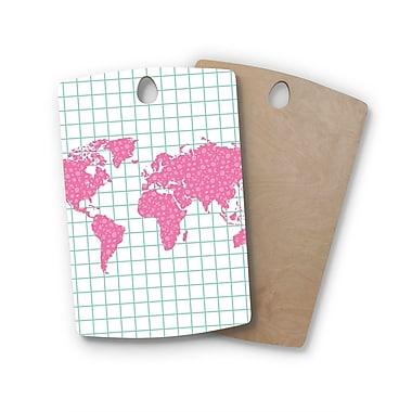 East Urban Home Famenxt Birchwood Grid Map Mint Digital Cutting Board; Rectangle