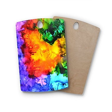 East Urban Home Claire Day Birchwood Karma Rainbow Paint Cutting Board; Rectangle