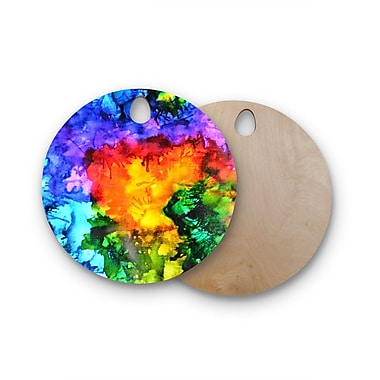 East Urban Home Claire Day Birchwood Karma Rainbow Paint Cutting Board; Round