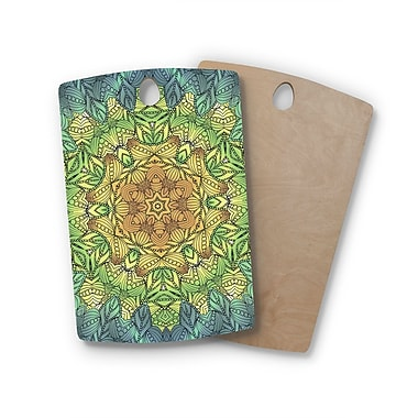 East Urban Home Art Love Passion Birchwood Celtic Golden Flower Geometric Cutting Board; Rectangle