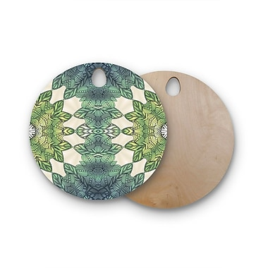 East Urban Home Art Love Passion Birchwood Forest Leaves Celtic Abstract Cutting Board; Round