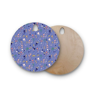 East Urban Home Akwaflorell Birchwood Pretty Little Flowers2 Lavender Vector Cutting Board; Round