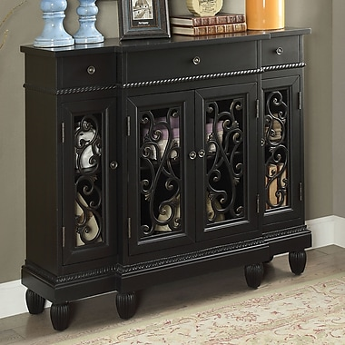 Fleur De Lis Living Cedarville Traditional Hallway 3 Drawer Accent Cabinet; Black