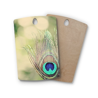 East Urban Home Beth Engel Birchwood Sun Kissed Peacock Feather Cutting Board; Rectangle