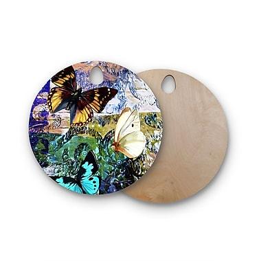 East Urban Home Alyzen Moonshadow Birchwood 3 Different Butterflies Digital Cutting Board; Round