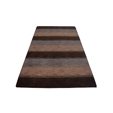 Latitude Run Ry Hand Knotted Loom Wool Dark Brown/Beige Area Rug
