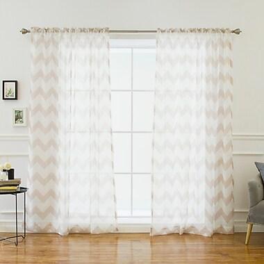 Latitude Run Keelin Curtain Panels (Set of 2); Taupe