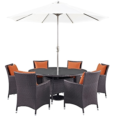 Latitude Run Ryele 8 Piece Outdoor Patio Dining Set w/ Cushions; Espresso Orange