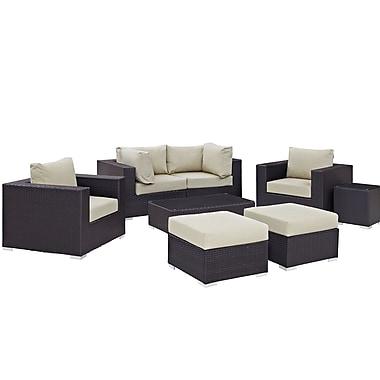 Latitude Run Ryele 8 Piece Outdoor Metal Frame Patio Sectional Set w/ Cushions; Espresso Beige