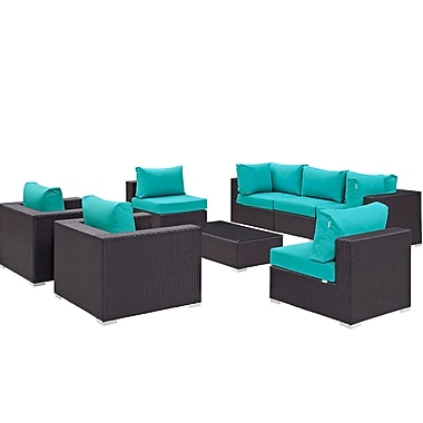 Latitude Run Ryele Contemporary 8 Piece Outdoor Patio Sectional Set w/ Cushions; Espresso Turquoise