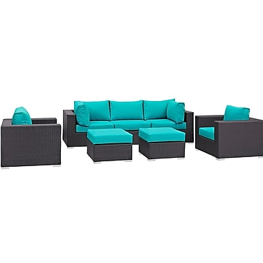 Latitude Run Ryele 7 Piece Outdoor Patio Sectional Set w/ Cushions; Espresso Turquoise