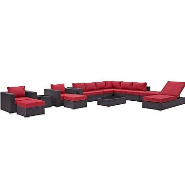 Latitude Run Ryele 12 Piece Deep Seating Group w/ Cushion; Red