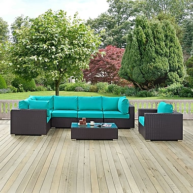 Latitude Run Ryele Outdoor 7 Piece Patio Seating Group w/ Cushions; Turquoise