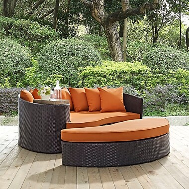 Latitude Run Ryele Outdoor Patio Daybed w/ Cushions; Espresso Orange