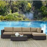 Latitude Run Ryele 5 Piece Deep Seating Group w/ Cushion; Mocha