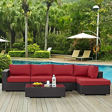 Latitude Run Ryele 5 Piece Deep Seating Group w/ Cushion; Red