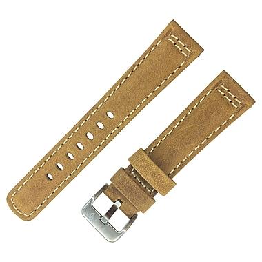 Dakota 24mm Light Brown Padded Contrast White Stitch Geniune Leather Strap (19325)
