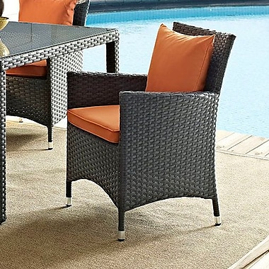 Latitude Run Khadar Dining Arm Chair w/ Cushion; Orange