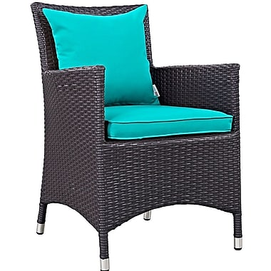 Latitude Run Khadar Dining Arm Chair w/ Cushion; Turquoise