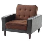 Orren Ellis Laurence Armchair; Chocolate Suede/Dark Brown