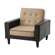 Orren Ellis Laurence Armchair; Mocha Suede/Dark Brown