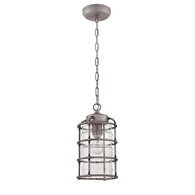 17 Stories Aario 1-Light Outdoor Pendant; Aged Galvanized