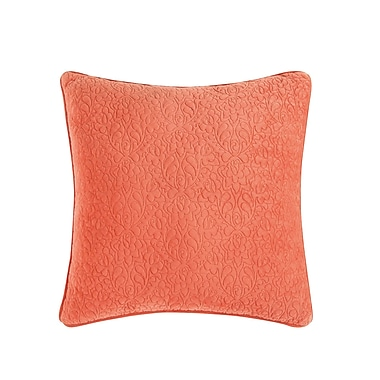 Tracy Porter Solid Square Throw Pillow; Apricot Orange/Eggplant Purple